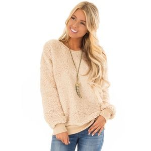 Sweaters - Cream Sherpa Pullover Sweater